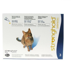 STRONGHOLD 45MG SPOT ON SOLUTION FOR CATS WEIGHING BETWEEN 2.6KG-7.5KG 3 PIPETTES